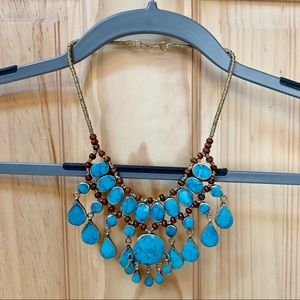 Jewelry - Turquoise Colored Stone Necklace w/ Wooden Beads